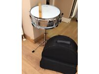 "Stagg Snare Drum 14x5.5"" with stand plus back pack style bag."
