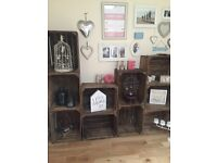 10 X wooden crates ideal for display in home/salon/shop or wedding