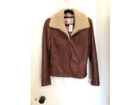Ted Baker size 1 (Ladies UK 8) brown shearling collar leather jacket.