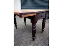 victorian pine scrub top drop leaf pine dining table