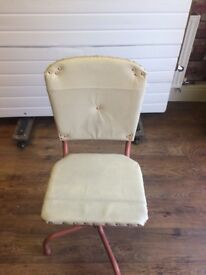 Vintage 1950's Office Swivel Chair - recovered - good back support
