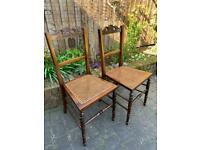 Pair of Antique Mahogany Rattan Seat Chairs