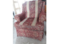 3 seater Couch/sofa and 2 armchairs - rust and cream brocade