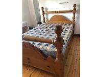 Double Pine Bedframe and Mattress £100