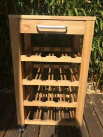 16 bottle wine rack with draw and casters