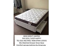 £125.00. NEW. Double Bed. Memory Foam Mattress with a Silentnight DRAWER- Divan Base. FREE DEL