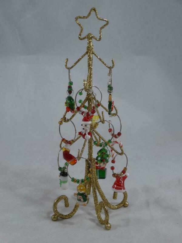 Boston Warehouse Wine Marker Tree 11 Glass Wine Markers Christmas Tree