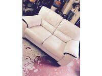 White leather sofa x2