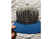 Men's obey flat peak cap
