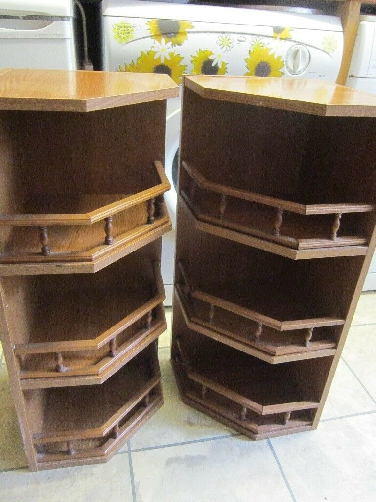 Two Kitchen Corner Wall Shelf Units With Oak Effect