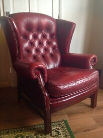 Authentic Chesterfield High back Leather Armchair in oxblood red