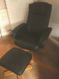 Black Faux Leather Swivel / Recline Chair & Foot Stool