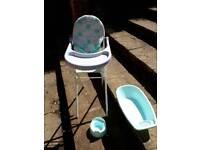 Baby doll high chair, bath and potty set near North walsham