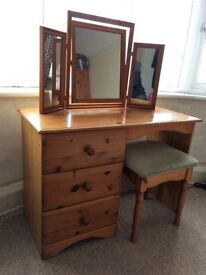 Pine Dressing Table with Mirror and Stool