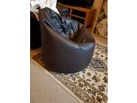 Bean bag brown leather