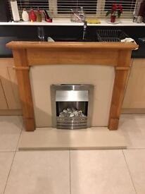 Wood fire place with 2 kilowatt effect fire and marble effect surround