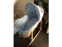 Blue Moses basket stand toddlerbed frame 2 high chairs and exsirsize bike