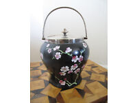 Beautiful Vintage Rialtoware Biscuit Barrel decorated with Oriental Cherry Blossom, hallmarked Lid