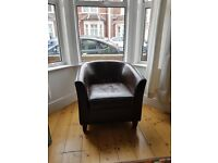 """Tub chair arm chair Dark brown faux """"leather"""" effect"""
