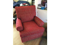 Excellent quality red armchair, little used; only 3 years old, £500 new. Down to £40 for quick sale