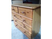 Pine wardrobe and 2 x chest of drawers