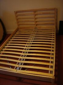 IKEA TARVA bed frame plus LUROY slatted bed base - double bed