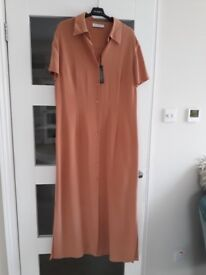 """Ladies """"Planet"""" soft pure silk crepe dress - full length - very soft dark apricot colour - Size 16"""