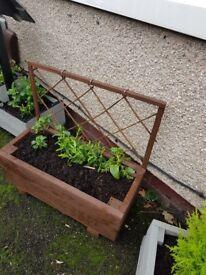 *LAST CHANCE TO BUY* Handmade Brown trellis planter with flowers HALF PRICE