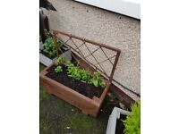 *LAST CHANCE TO BUY* Handmade Brown trellis planter with flowers HALF PRICE