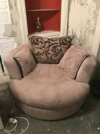 L shaped sofa, round cuddle seat and foot stool - £250