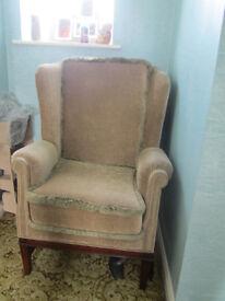 Armchair. Wardens arm chair in Green Velour?