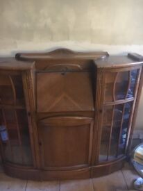 Edwardian Glass Fronted display cabinet with Bureau and cupboard