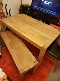 Table with bench and 2 chairs