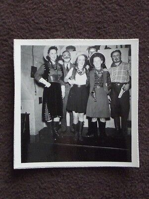 COWGIRLS & MEN WITH CLOWN MAKEUP FROM COSTUME PARTY POSING VTG 1941 - Cowgirl Costume Makeup