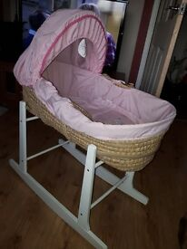 Girls moses basket and rocker stand