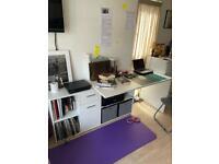 White corner/straight desk