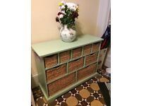 Wicker and wood drawer unit