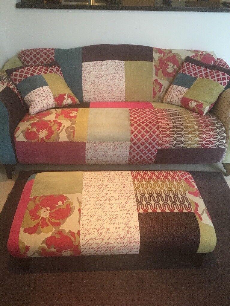Patchwork Sofa Dfatching Footstool