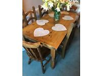 Large Farmhouse dining table and 6 kitchen chairs wood