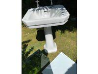 Bathroom sink, pedestal, splash back, mirror and glass shelf