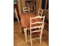 Distressed look/shabby chic oak dining table and chairs