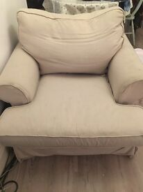 Cream house of Fraser armchair, washable cover. 3 years old