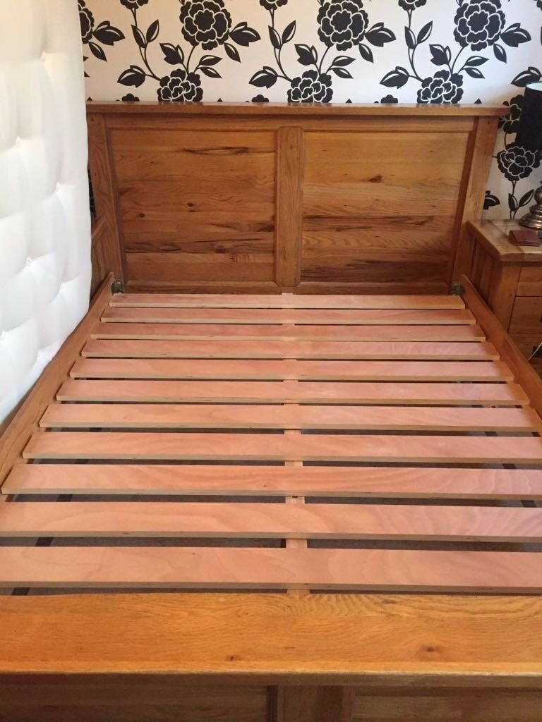 King size solid oak bed for sale