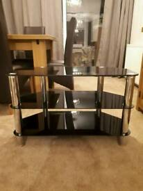 Corner TV Stand - Black Glass and Chrone