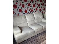 FREE a3 seater and 2 seater cream leather in ok condition GONE PENDING COLLECTION