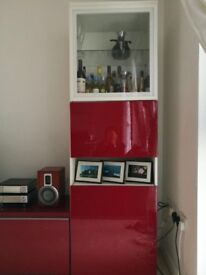 Red single cupboard