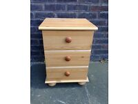 3 drawer pine chest of drawers