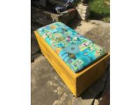 Upcycled mobile storage toy or blanket box