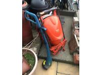 Flymo lawnmower and Hyundai strimmer