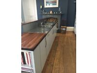 Stainless Steel double sink, work surface and back stand